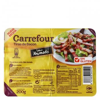 Tiras de bacon sabor ahumado Carrefour sin gluten pack de 2 unidades de 100 g.