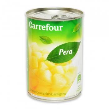 Pera en almíbar ligero en dados Carrefour 240 g.