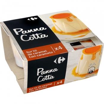 Panna cotta al caramelo Carrefour Original pack de 4 unidades de 90 g.