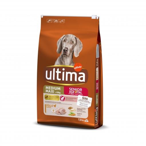 Ultima Pienso para Perro Adulto Medium - Maxi Sabor pollo y arroz 7,5kg.