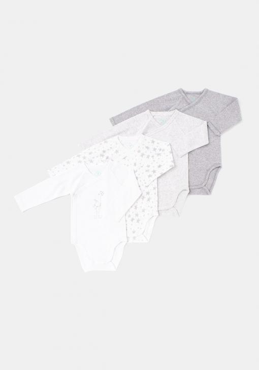 Pack cuatro bodys manga larga para recién nacido unisex TEX