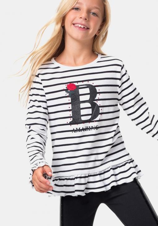 Camiseta rayas estampada manga larga TEX