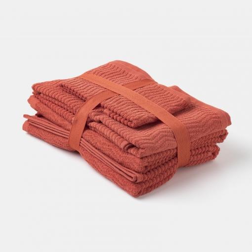 Pack de 6 Toallas de Algodón TEX Naranja