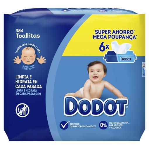 384 toallitas en total Dodot Pack de 6 unidades con 64 toallitas