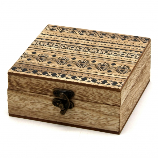 Caja Decoración de Madera Étnica 12x12x5 cm - Marrón