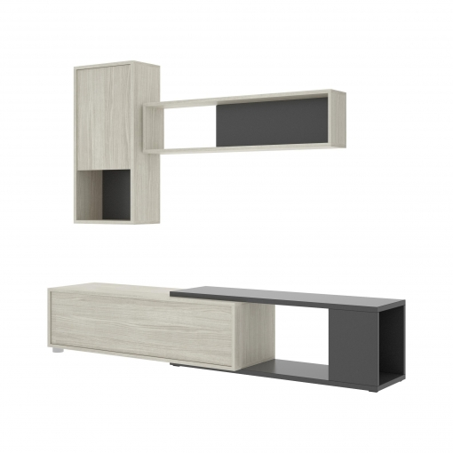 Mueble Salón TV HOMEKIT 80X180/230X41 cm - Gris/Grafito