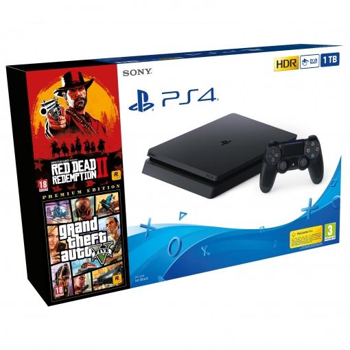 PS4 1TB con Red Dead Redemption 2 + Grand Theft Auto V Premium Edition
