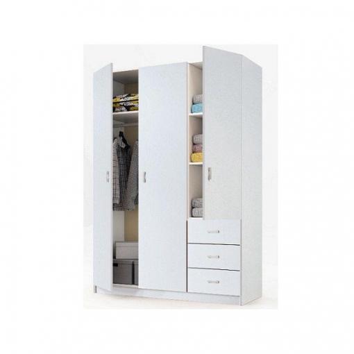 Armario con 3 puertas y 3 cajones milan blanco las for Armarios de madera baratos