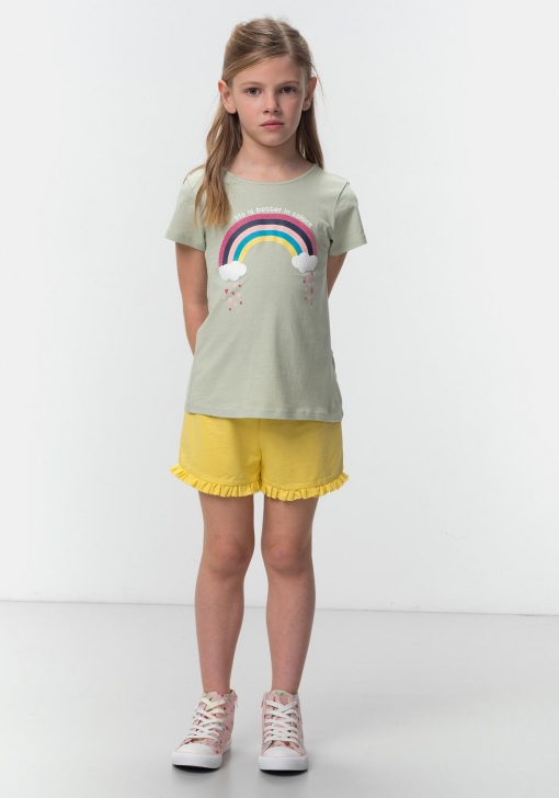 Pantalón corto volantes de Niña TEX