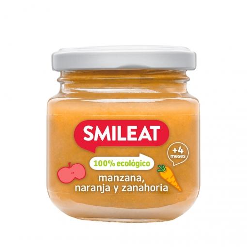 Tarrito de manzana y naranja ecológico Smileat 130 g.