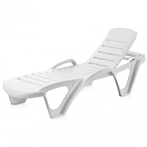 Tumbona fija apilable 190x70 cm blanco las mejores for Tumbonas playa baratas