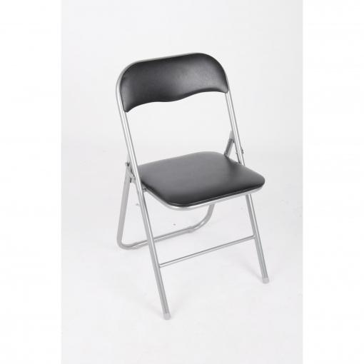 Silla plegable de metal negro las mejores ofertas de for Ofertas de sillas de oficina en carrefour