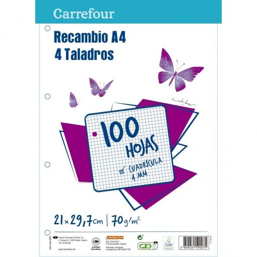 Recambio A4 100 Hojas 70gr 4 Taladros   Las mejores ofertas de Carrefour