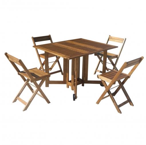 Conjunto de madera de acacia mesa 4 sillas plegables for Oferta sillas madera
