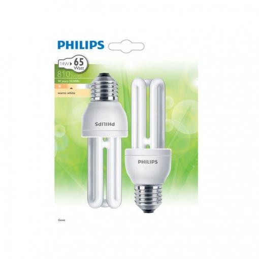 Pack de 2 Bombillas Fluorescentes Philips Genie 14W E27 Luz Cálida
