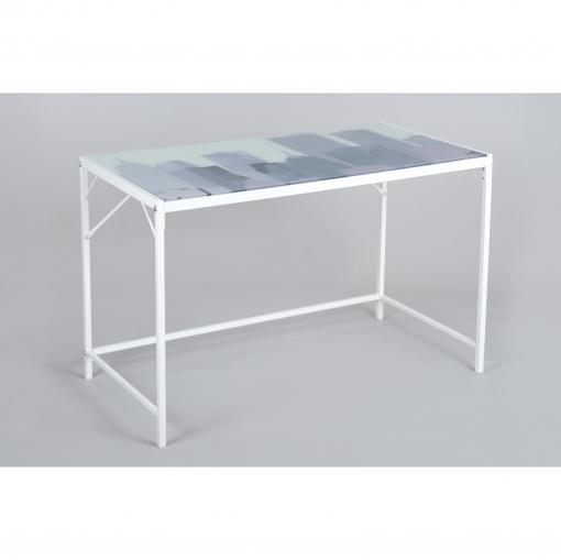 Mesa estudio metal y cristal tobin 120x60x75 blanco las mejores ofertas de carrefour - Mesa estudio cristal ...