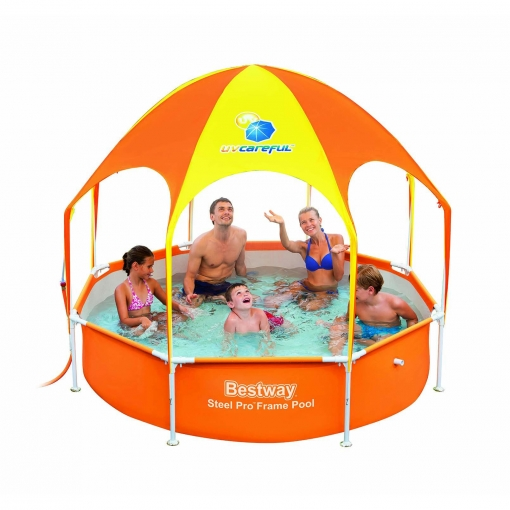 Piscina Splash-In-Shade 244x51 cm con Techo y Rociador 1.688L