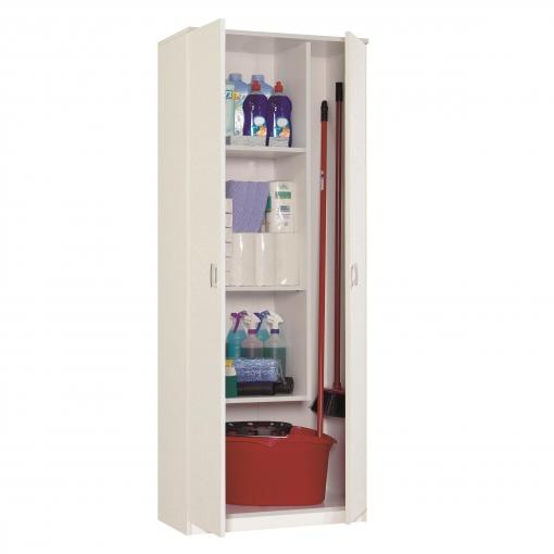 Armario escobero 2 puertas muebles pitarch blanco las for Armarios de plastico para exterior carrefour