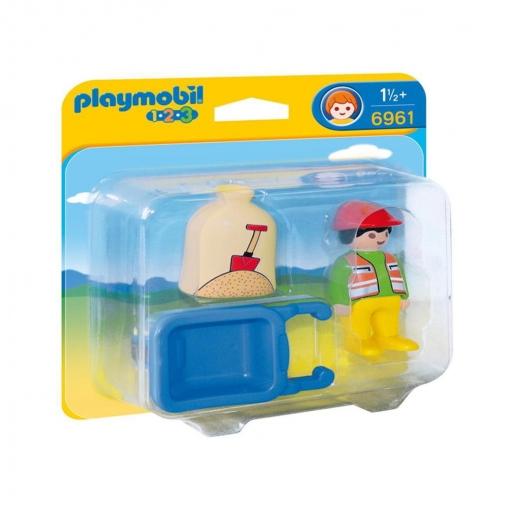 Playmobil - 1.2.3 Trabajador con Carretilla