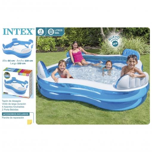 piscina hinchable con asientos 229x229x66 cm las mejores On piscinas hinchables rectangulares carrefour