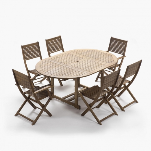 Set comedor 1 mesa redonda extensible 4 sillas 2 for Sillas comedor carrefour