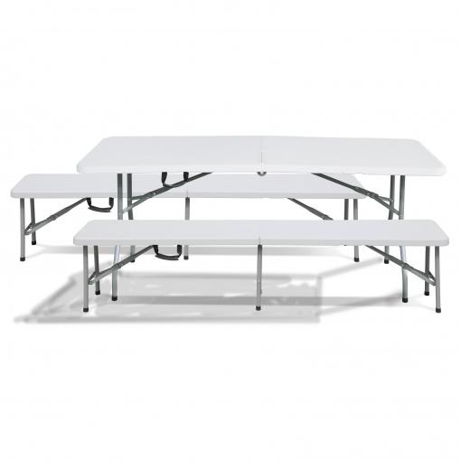 Conjunto mesa 2 bancos plegables port tiles resina rdm for Mesas de camping plegables carrefour