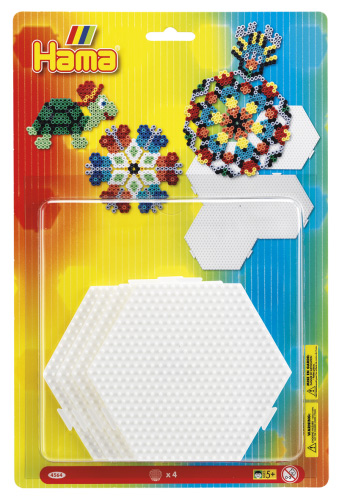 Blister 4 Placas / Pegboards Hexagonal Mediana Conectable Para Hama Beads Midi