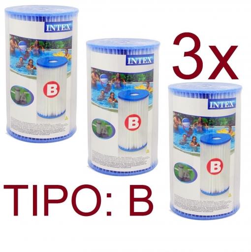3x cartucho filtro tipo b intex bomba depuradora piscina for Filtro piscina carrefour