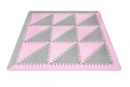 Lubabymats - Alfombra Puzzle Infantil Para Bebés De Foam (eva), Suelo Extra Acolchado. Medida: 161x161 Cm. Color Rosa Y Gris