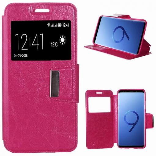 53303b9867e Funda Flip Cover ( Samsung Galaxy S9 ) Libro Tapa Soporte Ventana - Rosa