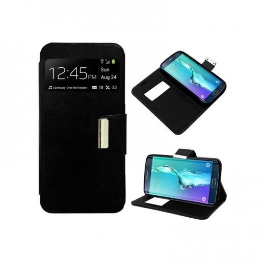 0fb01fcb02e Cool® - Funda Flip Cover View Samsung Galaxy S6 Edge Plus ( Negra ) Carcasa  Con Ventana Tapa Libro Soporte