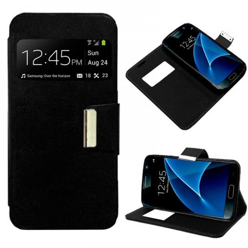 70dca051628 Cool® - Funda Flip Cover View Samsung Galaxy S7 Edge ( Negra ) Carcasa Con Ventana  Tapa Libro Soporte