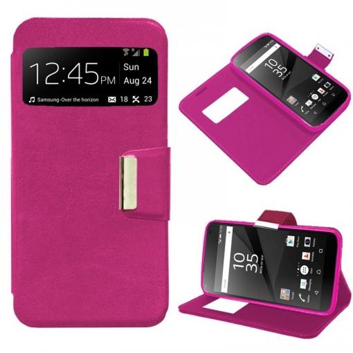 3b88ab2cdeb Cool® - Funda Flip Cover View Sony Xperia Z5 Compact ( Rosa ) Carcasa Con  Ventana Tapa Libro Soporte