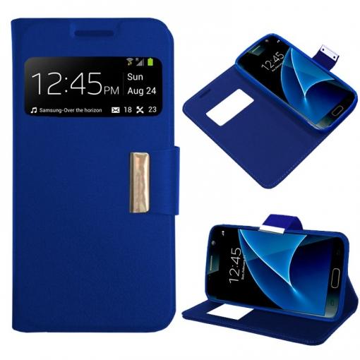 6ab30676e13 Cool® - Funda Flip Cover View Samsung Galaxy S7 Edge ( Azul ) Carcasa Con  Ventana Tapa Libro Soporte