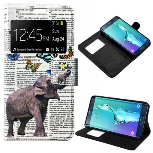 906f0da4b39 Cool® - Funda Flip Cover View Samsung G928f Galaxy S6 Edge Plus ( Dibujos  Elefante ) Carcasa Con Ventana Tapa Libro Soporte