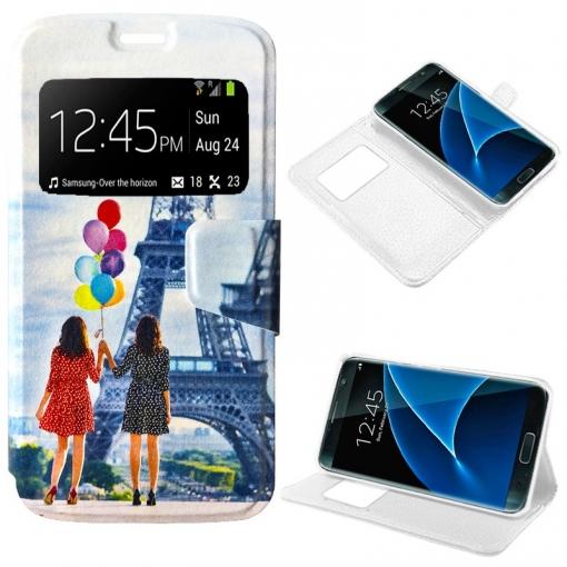 f4cfd1950fa Cool® - Funda Flip Cover View Samsung G930 Galaxy S7 ( Dibujos Globos )  Carcasa Con Ventana Tapa Libro Soporte