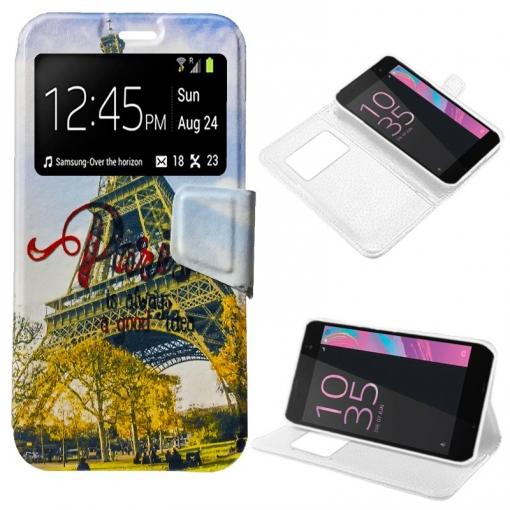 942023cf858 Cool® - Funda Flip Cover View Sony Xperia E5 ( Dibujos Paris ) Carcasa Con  Ventana Tapa Libro Soporte