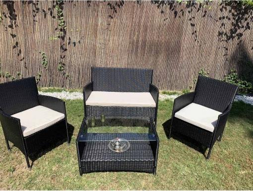 Washington Conjunto Muebles De Jardin Y Exterior En Ratan Sintético Color Negro Kiefergarden