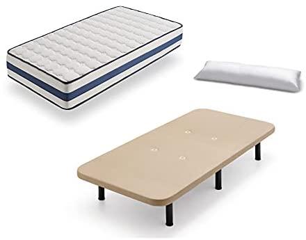 Base Tapizada+colchón Viscoelástico Medical Confort+almohada Fibra - Patas 32 - 105x190