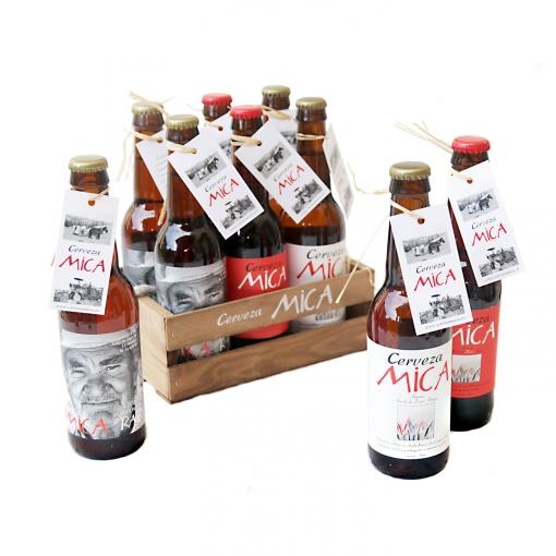 Caja De Madera 6 Unidades Cerveza Mica