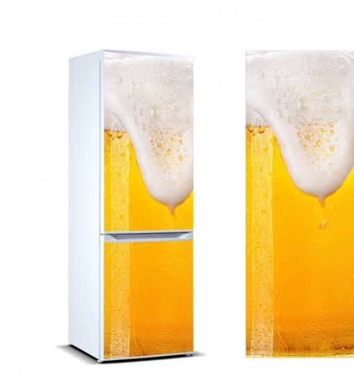 Vinilo Para Frigorífico Cerveza Espumosa 185x70cm | Adhesivo Resistente Y Económico | Pegatina Adhesiva Decorativa De Diseño Elegante