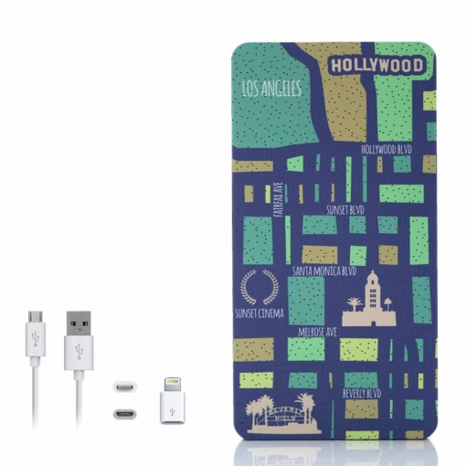 Yzsy Bateria Externa Powerbank 5000mah Cities Of The World - Los Angeles + Gratis Cable Usb-microusb Y Adaptador Lightning
