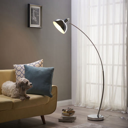 Lámpara Cromada Y De Arco Versanora Estándar Curvada Led Vn Pie l00024 eu SzMUVpq