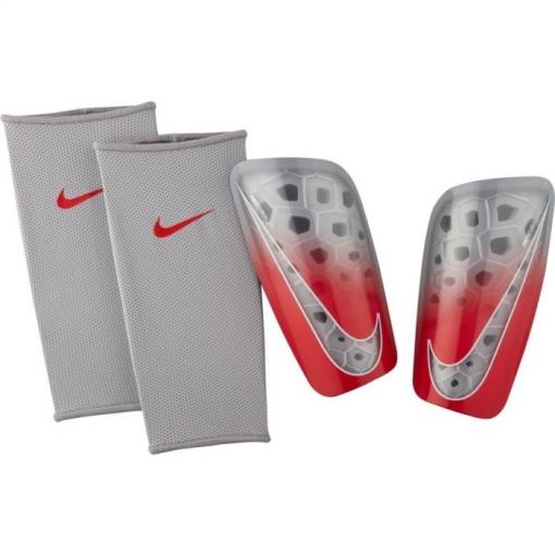 Espinilleras Nike Mercurial Lite Plata rojo Adulto  fcfcc52be445f