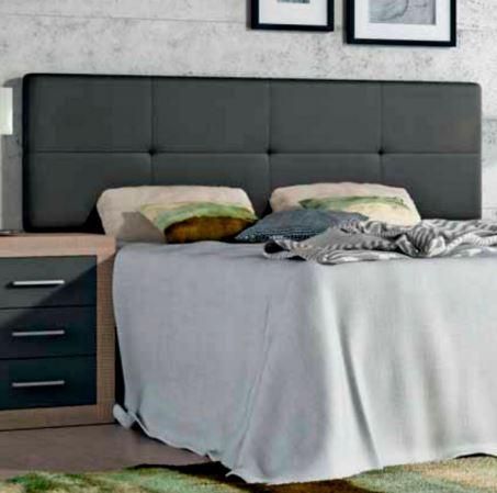 Cabecero tapizado en polipiel al 50 descuento para cama de 135 y 150 cms color grafito las - Cabecero polipiel carrefour ...