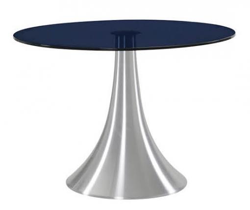 Mesa Cocina/comedor Aluminio Y Cristal Templado Negro 120x72 Cm ...