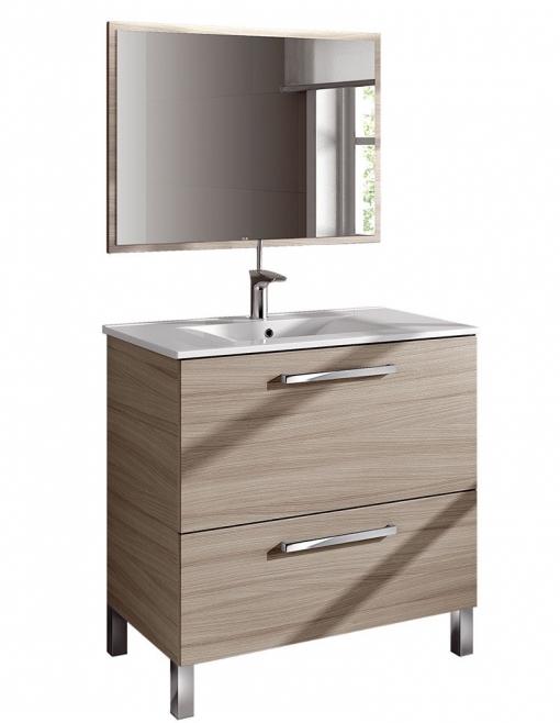 Mueble de ba o puerta abatible caj n lavabo espejo - Muebles bano carrefour ...