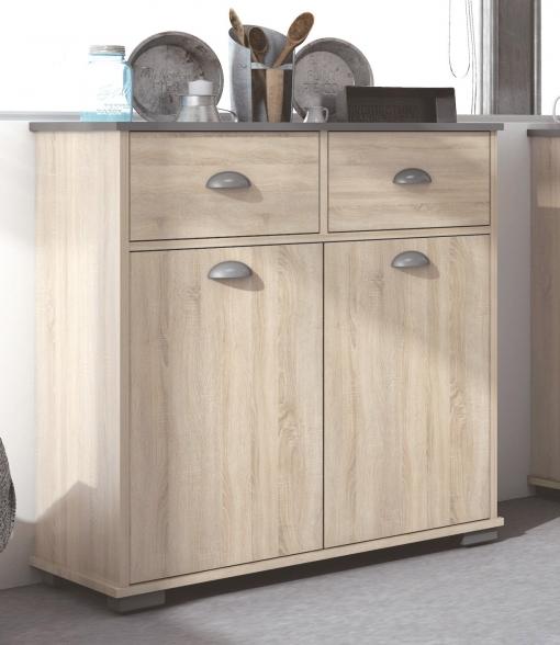 Armario Buffe Con 2 Puertas Y Dos Cajones Color Roble Para Cocina 80x90 Cm