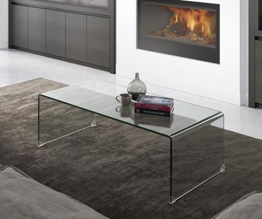 Mesa De Centro De Diseño Cristal Transparente Para Comedor O Salón  35x110x60 Cm