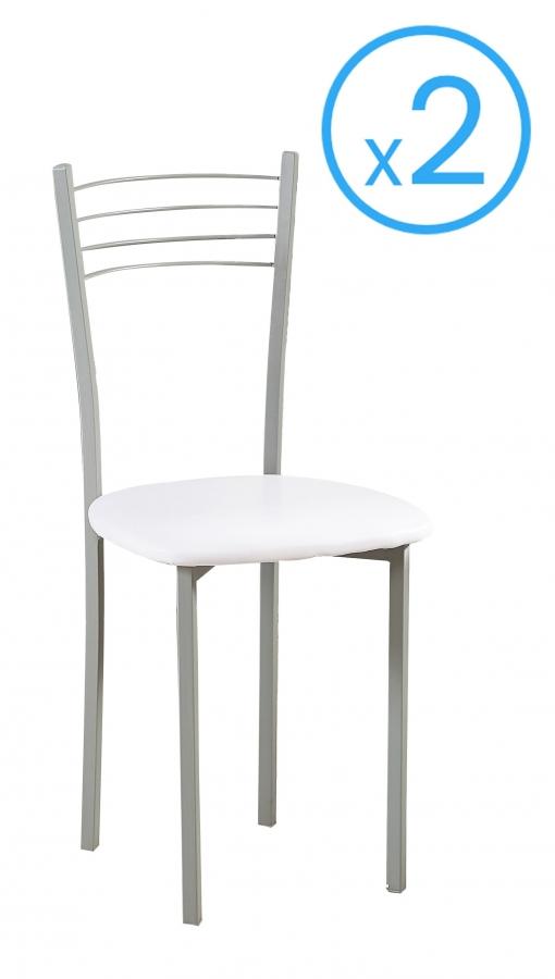 Pack 2 Sillas Ideal Para Cocina Tapizadas En Polipiel Color Blanco Y  Estructura Metálica 89x40 Cm